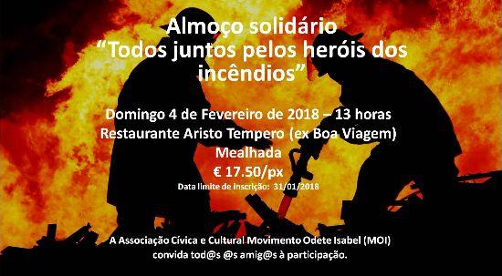 """Almoço solidário """"Todos juntos pelos heróis dos incêndios"""""""