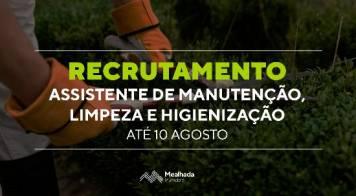 Recrutamento - Assistentes de Manutenção, Limpeza e Higienização